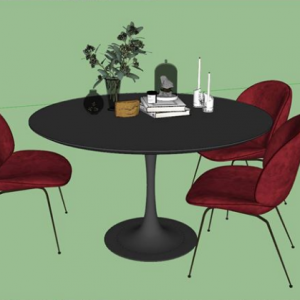 1854.Dinner Table And Chair Sketchup File free download by TranVietHung 2