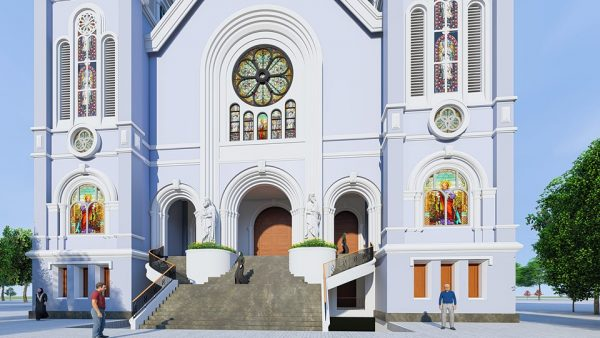 2155 Exterior Churchs Scene Sketchup Model By Tran The Luc Free Download 1