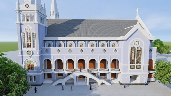 2155 Exterior Churchs Scene Sketchup Model By Tran The Luc Free Download 3