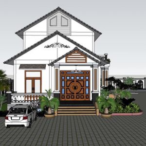 2473 Exterior House Scene Sketchup Model By CuongNguyen KTS Free Download 1