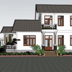2473 Exterior House Scene Sketchup Model By CuongNguyen KTS Free Download 2