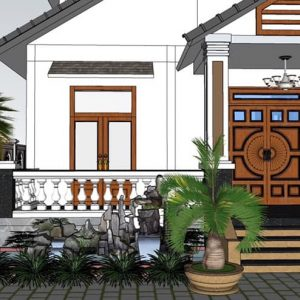 2473 Exterior House Scene Sketchup Model By CuongNguyen KTS Free Download 4