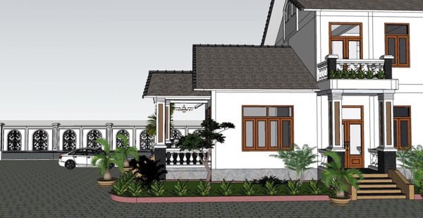 2473 Exterior House Scene Sketchup Model By CuongNguyen KTS Free Download 6