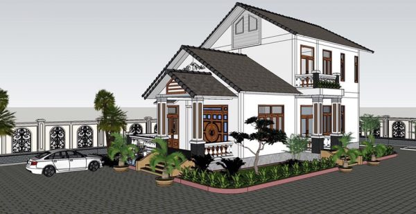2473 Exterior House Scene Sketchup Model By CuongNguyen KTS Free Download 8