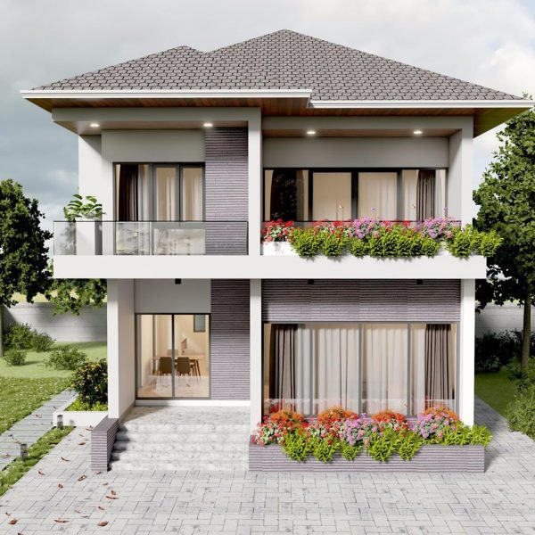 2854 Exterior House Scene Sketchup Model By Co Phong Suong Free Download 2