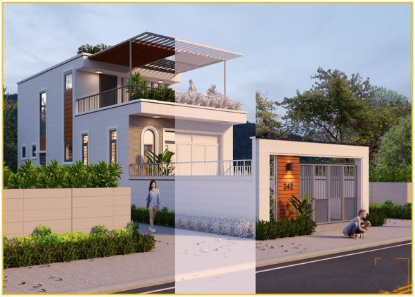 3041 Exterior House Scene Sketchup Model by ToanNguyen Free Download