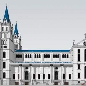 3042 Exterior Churchs Scene Sketchup Model by HungNguyen Free Download 1