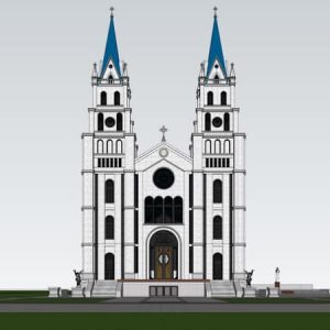 3042 Exterior Churchs Scene Sketchup Model by HungNguyen Free Download 3