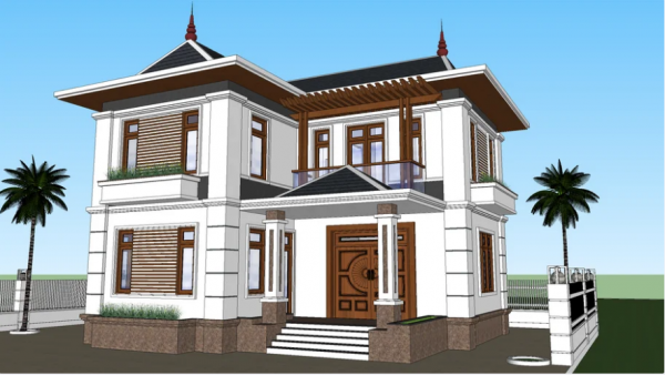 3506 Exterior House Scene Sketchup Model By CuongH