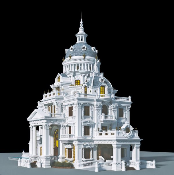 3594 Exterior Classical Villa Scene Sketchup Model By NguyenQuocThai 1