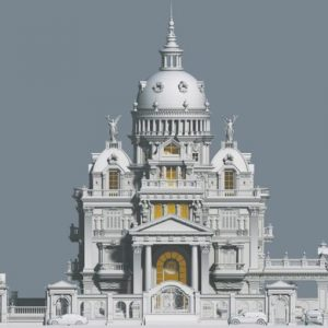 3594 Exterior Classical Villa Scene Sketchup Model By NguyenQuocThai 2 768x510 1