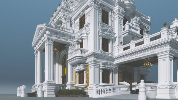 3594 Exterior Classical Villa Scene Sketchup Model By NguyenQuocThai 3