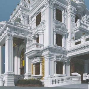 3594 Exterior Classical Villa Scene Sketchup Model By NguyenQuocThai 3 768x432 1