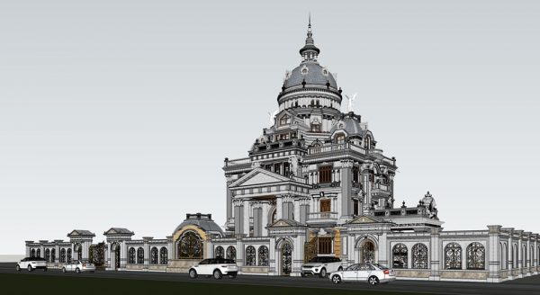 3594 Exterior Classical Villa Scene Sketchup Model By NguyenQuocThai 4