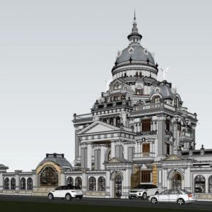 3594 Exterior Classical Villa Scene Sketchup Model By NguyenQuocThai 4 768x419 1