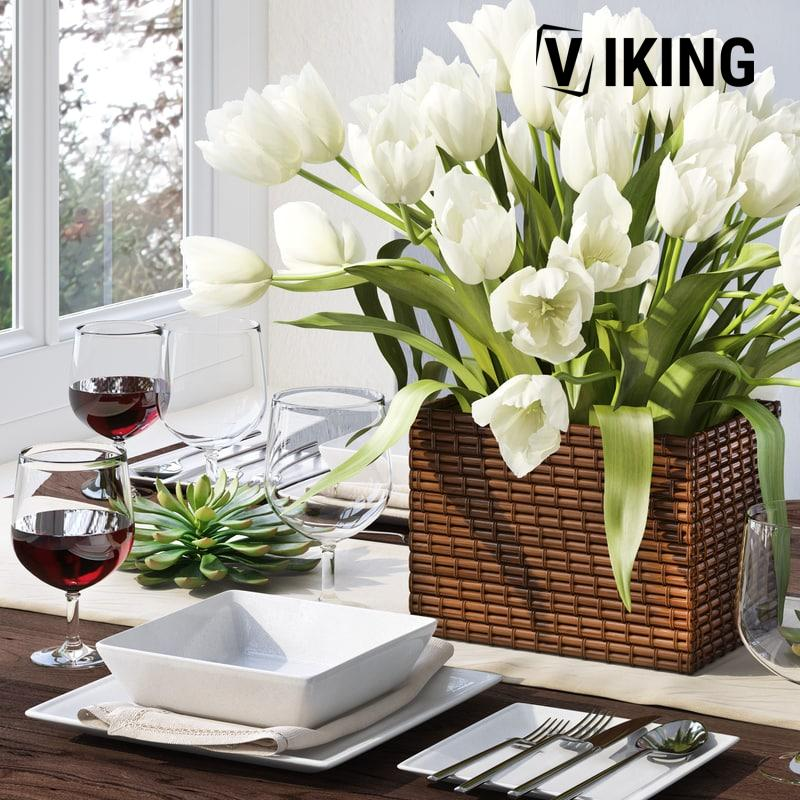 3d Tableware With Tulips Model 30 Free Download 1