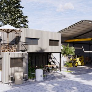 4542 Exterior Office Container Scene Sketchup Model by CHILL Design 2