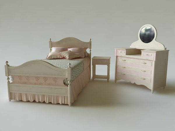 Free 3D Models Bed and locker for the girl